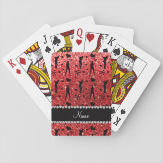 Custom name red glitter golf hearts bows playing cards