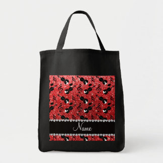 Custom name red glitter violins music notes