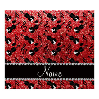 Custom name red glitter violins music notes posters