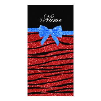 Custom name red glitter zebra stripes blue bow picture card