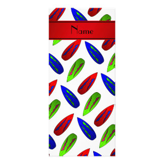 Custom name red green blue surfboards on white rack cards