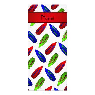 Custom name red green blue surfboards on white rack cards