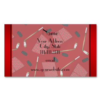 Custom name red hockey sticks pucks nets magnetic business cards