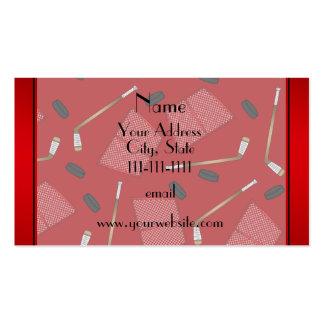 Custom name red hockey sticks pucks nets pack of standard business cards