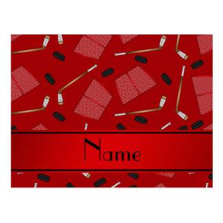Custom name red hockey sticks pucks nets postcard