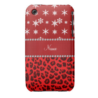 Custom name red leopard red snowflakes red stripe iPhone 3 Case-Mate case