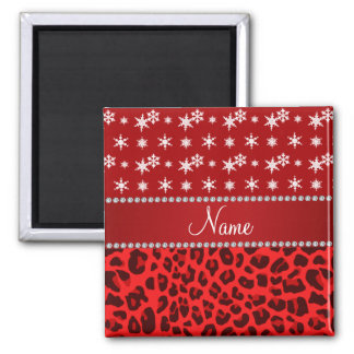 Custom name red leopard red snowflakes red stripe fridge magnets