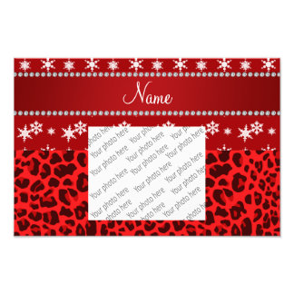 Custom name red leopard red snowflakes red stripe photo