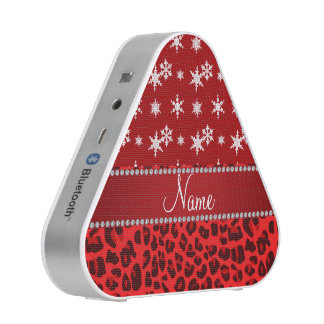 Custom name red leopard red snowflakes red stripe bluetooth speaker