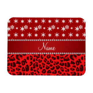 Custom name red leopard red snowflakes red stripe flexible magnet