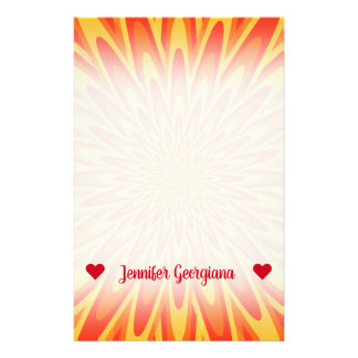 Custom Name; Red, Orange, Yellow Bursting Pattern Stationery