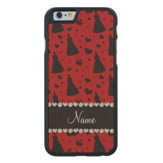 Custom name red princess hearts stars crown carved® maple iPhone 6 slim case