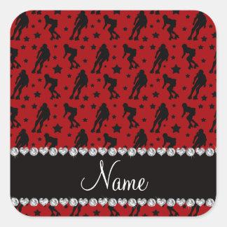 Custom name red roller derby stars square sticker