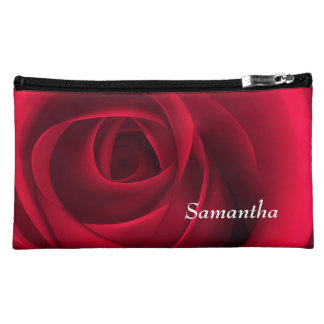 Custom Name Red Rose Sueded Cosmetic Bag