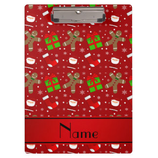 Custom name red santas gingerbread clipboard