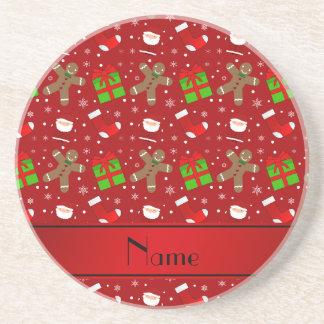 Custom name red santas gingerbread drink coaster