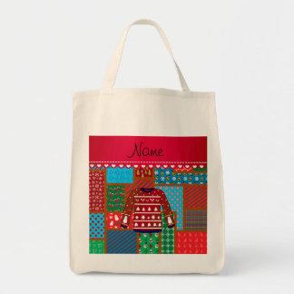 Custom name red snowman ugly christmas sweater bag