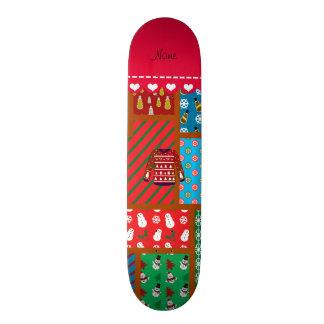 Custom name red snowman ugly christmas sweater skate decks