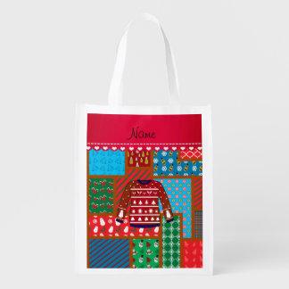 Custom name red snowman ugly christmas sweater reusable grocery bag