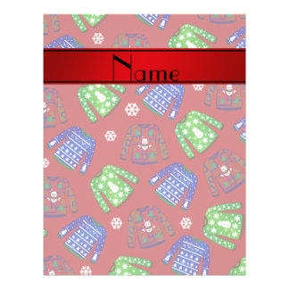 Custom name red ugly christmas sweater pattern 21.5 cm x 28 cm flyer