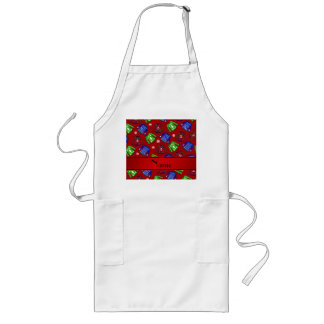Custom name red ugly christmas sweater pattern long apron
