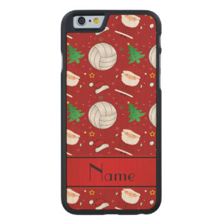 Custom name red volleyball christmas pattern carved® maple iPhone 6 case