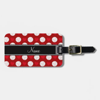 Custom name red volleyballs and hearts bag tag