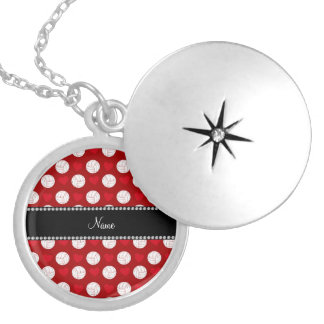 Custom name red volleyballs and hearts locket necklace