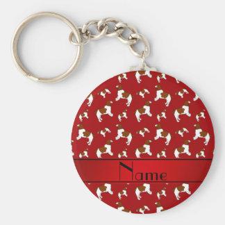 Custom name red Welsh Springer Spaniel dogs Basic Round Button Key Ring