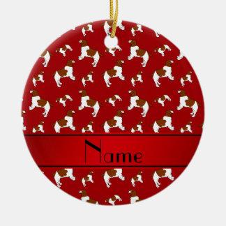 Custom name red Welsh Springer Spaniel dogs Round Ceramic Decoration