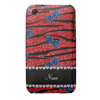 Custom name red zebra stripes blue bows iPhone 3 Case-Mate case