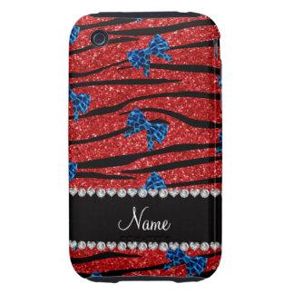 Custom name red zebra stripes blue bows iPhone 3 tough cases