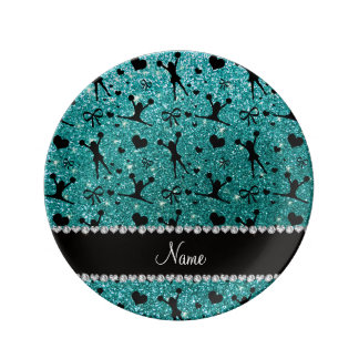 Custom name robin egg blue glitter cheerleading plate