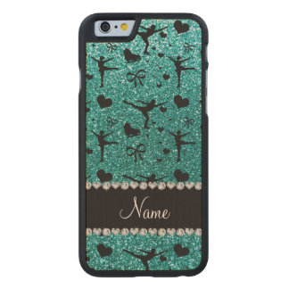 Custom name robin egg blue glitter figure skating carved® maple iPhone 6 case