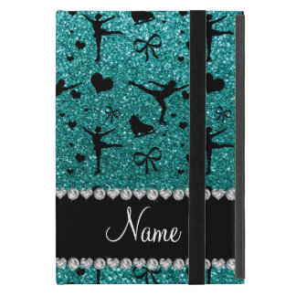 Custom name robin egg blue glitter figure skating cases for iPad mini