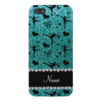 Custom name robin egg blue glitter figure skating cover for iPhone 5/5S