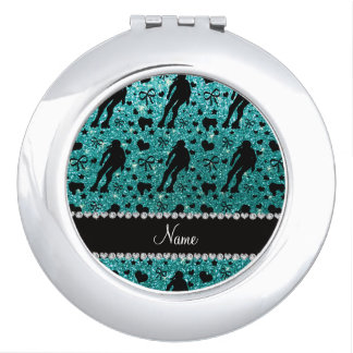 Custom name robin egg blue glitter roller derby mirror for makeup