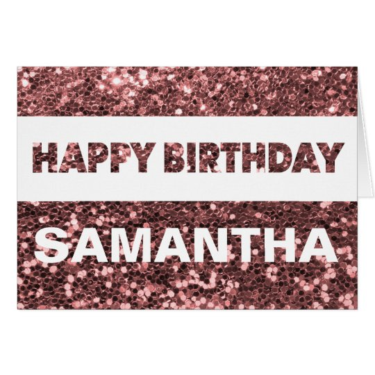 Custom Name Rose Gold Faux Glitter Happy Birthday