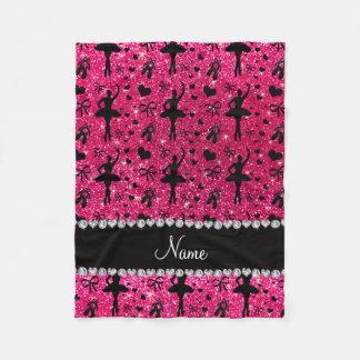 Custom name rose pink glitter ballerinas fleece blanket