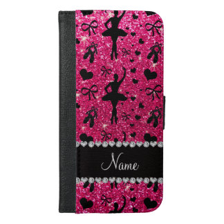 Custom name rose pink glitter ballerinas iPhone 6/6s plus wallet case