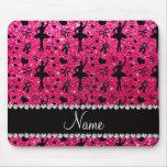 Custom name rose pink glitter ballerinas mouse pad