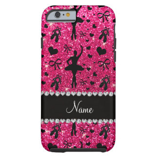 Custom name rose pink glitter ballerinas tough iPhone 6 case