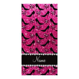 Custom name rose pink glitter black high heels bow photo greeting card