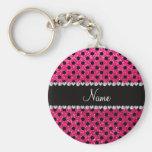 Custom name rose pink glitter black polka dots