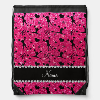 Custom name rose pink glitter cheerleading drawstring backpack