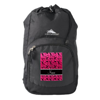 Custom name rose pink glitter cheerleading backpack