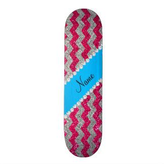 Custom name rose pink glitter chevrons blue stripe skate decks