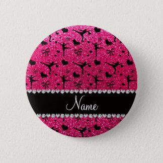 Custom name rose pink glitter figure skating 6 cm round badge