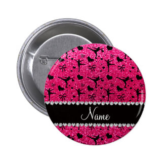 Custom name rose pink glitter figure skating 6 cm round badge