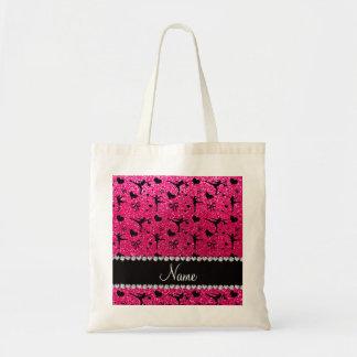 Custom name rose pink glitter figure skating budget tote bag